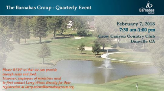 Quarterly Barnabas Event—February 7, 2018